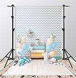 Kate 5x7ft Geburtstags-Fotografie-Hintergründe weißer und blauer Streifen-Hintergrund für 1. Geburtstags-Party-Hintergrund