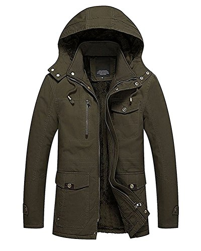Tomwell giacca da uomo invernali giacca cappuccio vento imbottita moda inverno cappotto parka caldo giubbotto lunga cappotti verde eu m
