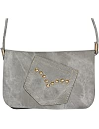FabSeasons PU Small Jeans Pocket With studs Gray color Casual Sling Bag and Cross Body Bag