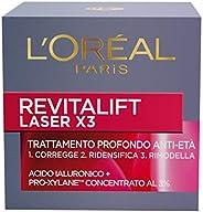 L'Oréal Paris Trattamenti Revitalift Laser X3 Crema Viso Antirughe Anti-Età con Acido Ialuronico e Pro-Xylane di Giorno, 50