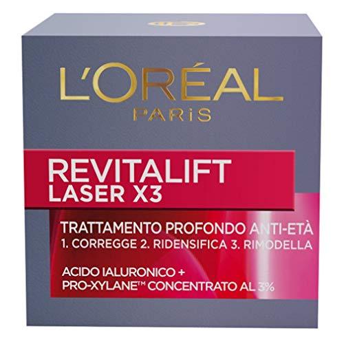 L'Oréal Paris Revitalift Laser X3 Crema Viso Antirughe Anti-Età con Acido Ialuronico e Pro-Xylane di Giorno