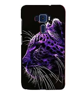 FUSON Purple Leopard Face Tiger 3D Hard Polycarbonate Designer Back Case Cover for Asus Zenfone 3 ZE552KL (5 Inches)