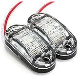 AUDEW 12V / 24V LED Voitures Feux Latéral Position Etanche Lampe E-Marked Remorque Camion 3 Couleurs Blanc