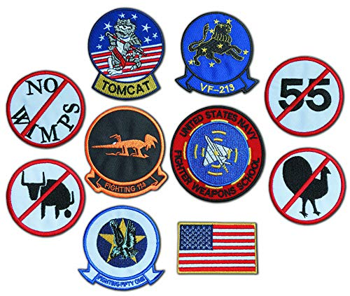 Top Gun Fighter - Maverick (Pete Mitchell) Kawasaki GPz Screen accurate embroidered Tactics Patch Set for G1 FLIGHT JACKET (10 Badges) G1 Flight Jacket