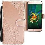 CLM-Tech Motorola Moto G5S Plus Hülle, PU Leder-Tasche mit Stand, Kartenfächern, Blumen Rosegold, Lederhülle für Motorola Moto G5S+