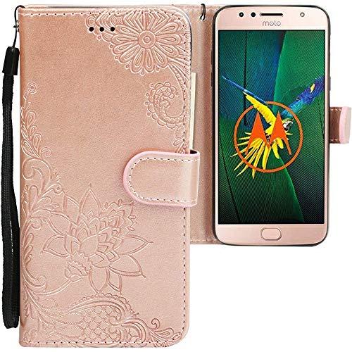CLM-Tech kompatibel mit Motorola Moto G5S Plus Hülle, PU Leder-Tasche mit Stand, Kartenfächern, Lederhülle Kunstleder, Blumen Rosegold
