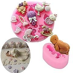 Idea Regalo - Stampo per torta fondente in silicone per bambini Stampo per torta per bambini che dorme stampo per dolci Caramella biscotti al cioccolato Stampo per dolci Sugarcraft Confezione da 2 (grigio)