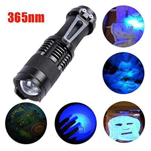 UV LED Handlampe Taschenlampe, Siswong Zoombar 365nm Ultraviolett Nachtfischen falsche Papiergeld, Metallrisse, Haustiere Eingetrocknete Urinflecken, gebrochene Glaswaren, Tatort Detektor