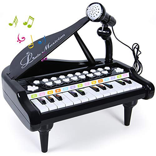SGILE Piano Toy Keyboard for Kids - 24 Keys Electronic Educational Musical Instrument with Microphone, Learn-to-Play Gift for Baby Toddlers Singing Music Development, Audio link with Mobile MP3 IPad PC, Black