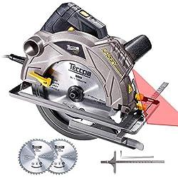 Scie Circulaire, TECCPO Professional 1500W Scie Circulaire avec Laser, 5800 RPM, 2 Lames Ø 185mm (40T&24T), Profondeur de Coupe 63mm (90 °), 45mm (45 °) - TACS01P