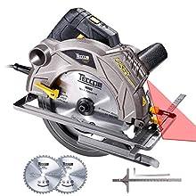 TACS01P - Sega circolare, TECCPO professionale, 1500 W, con Laser, 5800 RPM, 2 lame Ø 185 mm (40T&24T), profondità di taglio 63 mm (90°), 45 mm (45°), nero