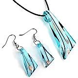 Conjunto Collar Pendientes Cristal de Murano Colgante Azul Fiesta