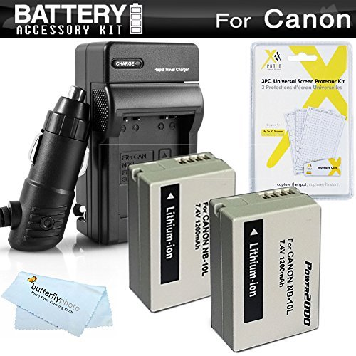 2 Pack Battery And Charger Kit For Canon PowerShot SX40 HS SX40HS SX50 HS SX50HS PowerShot G15 PowerShot G16 G1 X G1X Digital Camera Includes 2 Extended Replacement (1200Mah) NB-10L Batteries + AC/DC Travel Charger + LCD Screen Protectors + More