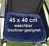 LANAMED 45 x 40 cm - Australische Antidekubitus Rollstuhlauflage 30-80°C waschbar. Druckentlastend, atmungsaktiv und super-bequem. 1900g/m² ultra-dichte Schurwolle = 50% mehr Wolle als ein herkömmliches Antidekubitus-Fell. Wollhöhe ca. 3 cm. Mit Befestigungsbändern. LANAMED ca. 45 x 40 cm