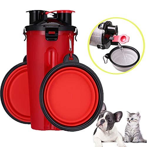 Meipire Haustiere 2 in 1 Wasserflaschen Näpfe mit Karabinerclip Hunde Katze tragbare Trinkbecher-Spenderbecher und Lebensmittelbehälter (Rot) -