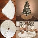 Copertura per base di albero di Natale, 78/90/122cm, felpata a pelo lungo, Panno, White, 122 cm