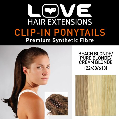 Love Hair Extensions - LHE/N/INDIA/CC/22/60/613 - Prime de Fibres India - Pince Crocodile - Queue de Cheval - Couleur 22/60/613 - Blond Plage / Blond Pur / Blond Crème