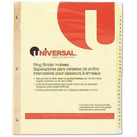 Prodotti universale universale per tablet, in plastica, con divisori numerati, 31, Letter-Tab Buff, Set, 31/As (3 Raccoglitore Ad Anelli Divisori)