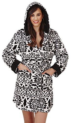 Loungeable, Damen Luxus-vlies Super Weich Freizeit Nachtwäsche Robe, Mehrere Muster, Styles Black and White Aztec Hooded