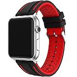 EL-move Serie 3 Apple Watch Uhrenarmbänder 42mm, Sport Armbanduhr Silikonarmband Ersatzarmband Armband für Apple iWatch Ersatzband Apple Watch Uhr Nike+ Serie 1 Serie 2 Serie 3 (BLACK RED 42MM)