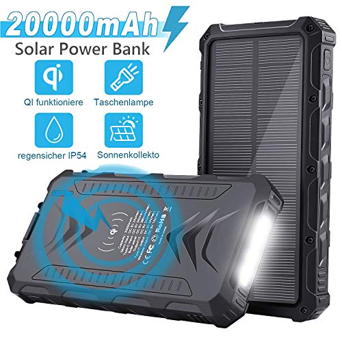 Solar Powerbank 20000mAh, Externer Akku Tragbares Solarladegeräte Mit IQ Wireless/USB C/PD für Handys, Solar Ladegerät Mit LED Leuchte für Outdoor Aktivitäten(Schwarz)