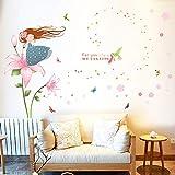 Mädchenzimmer, Schlafzimmer Dekorationen, rosa, romantisch, warm, Tapeten, klebrige Mädchen, Kinderwände, Aufkleber, Prinzessin.