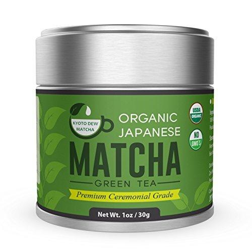 Organic Matcha Green Tea Powder - Premium Ceremonial Grade - Japanese 30g [1.06oz] by Kyoto Dew Matcha