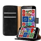 Cadorabo Hülle für Nokia Lumia 630 - Hülle in Graphit SCHWARZ – Handyhülle im Luxury Design mit Kartenfach und Standfunktion - Case Cover Schutzhülle Etui Tasche Book