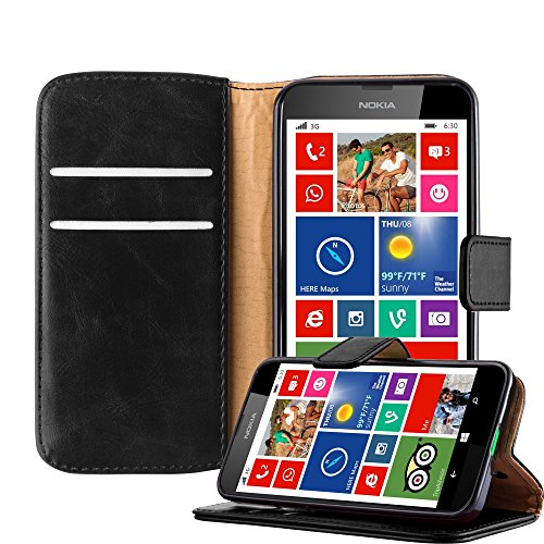 Cadorabo Custodia Libro per Nokia Lumia 630 in Nero Grafite – con Vani di Carte, Funzione Stand e Chiusura Magnetica – Portafoglio Cover Case Wallet Book Etui Protezione