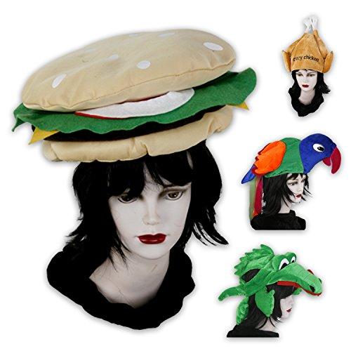 Hamburger-kostüm (Lustige Kopfbedeckungen für Fasching, Partys od. Junggesellenabschiede - Hamburger, Papagei, Krokodil und Hähnchen (Hamburger))