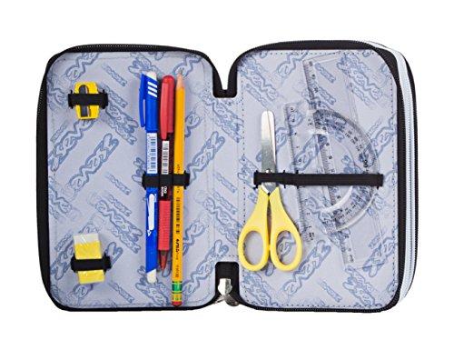 Estuche Escolar 3 Pisos – Seven – Freestyle – Multi Compartimentos con lápiz, rotuladores, boligrafos… Rojo Gris