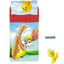 Completo sábanas colcha Lola Bunny Tweety una plaza Looney Tunes Bassetti (sábana Colcha 160x 280, sábana bajera con bajera 90x 200, almohada 50x 80)