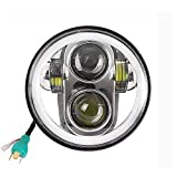 5-3/414,6cm rotondo Daymaker 45W lampada LED fari Angel Eyes Halo per moto Harley Davidson