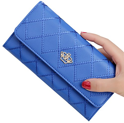 tina-womens-new-fashion-quilting-crown-long-wallet-purse-dark-blue
