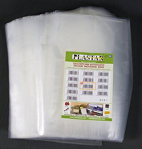 Plastar pak - 100 buste 25x35 per sottovuoto goffrate 105 micron sacchetti per alimenti