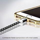Lightning Kabel 2 x 3m, Schwarz, geflochten flach, Sehr schnelles iPhone 7 Ladekabel - verstärktes USB Datenkabel mit Knickschutz, Für Apple iPhone 7 6 5, iPad, iPod - SWISS-QA Geldrückgabe Garantie - 2