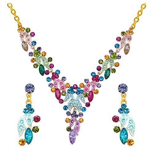 7a971db96e6d BiBeary Zircon Cristal Elegant Boda Party Mujer Vistoso Flores Hoja  Collares Pendientes Juegos de Joyas Oro-Tone