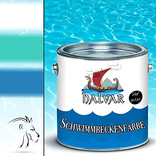 Halvar Schwimmbeckenfarbe skandinavische Poolfarbe Schwimmbadfarbe Schwimmbeckenbeschichtung in Blau Weiß Grün (5 L, Grün)
