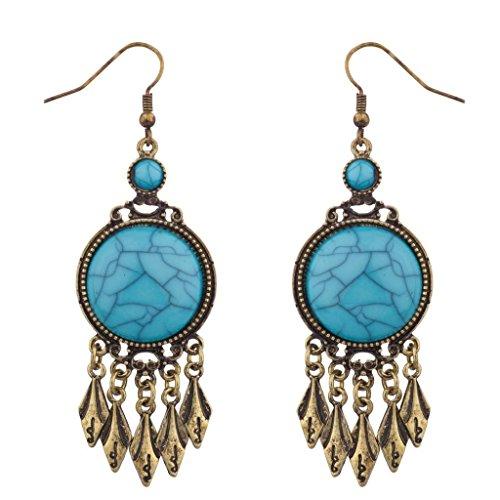 Lux accessori blu e argento Patina Crackled Cabochon orecchini