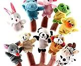 Elsatsang Marionetas del Dedo,10pcs Diferente Dibujos animados Animal Dedo Marionetas Suave Terciopelo Muñecas Accesorios Juguetes,Dedo Juguetes Conjunto, Regalo de Navidad para niños