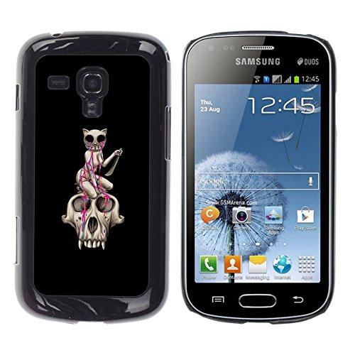 All Phone Most Case / Carino Immagine Rigida Custodia Duro protettiva Caso Cellulare Cassa / Hard Case for Samsung Galaxy S Duos S7562 // Cat Skull - Pink Tears - Pop Art