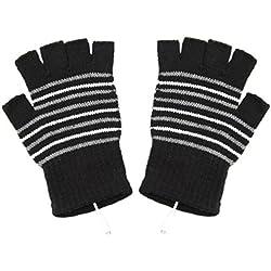 ma-on USB2.0con calefacción guantes sin dedos, diseño de rayas (negro)