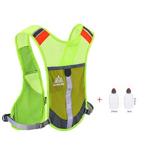 Imagen de aonijie  chaleco y  de hidratación ligero, para actividades al aire libre, senderismo, maratón, escalada, ciclismo, con 2 botellas de 250 ml , verde