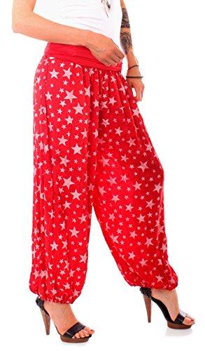 Fragolamoda Damen Pluderhose Sternen Print One Size Rot