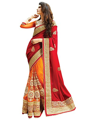 Fliponn Red & Orange Color Silk Georgette & Naylon Net Embroidered Party Wear Saree with Blouse Piece-FNJ852SE1535-A  available at amazon for Rs.1339