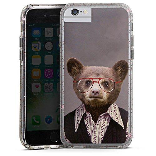 Apple iPhone 7 Bumper Hülle Bumper Case Glitzer Hülle Benji Bear Bear Baer Bumper Case Glitzer rose gold