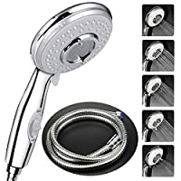 Shower Head with Hose(2m) Universal,High Pressure Self Cleaning Never Clog with 5 Mode Function,with Switch Handheld Shower.2m Metal Shower Hose - Chrome Suitable for All Shower Types.