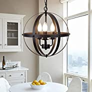 Ganeed Pendant Light,Industrial Globe Pendant Lighting,Vintage Chandelier Spherical Hanging Light,Ceiling Ligh