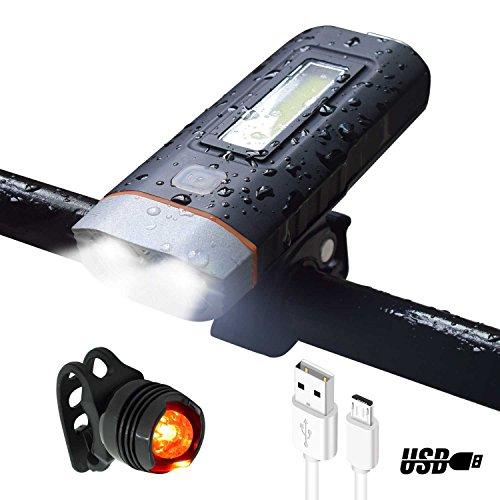 LED Fahrradbeleuchtung mit Rücklicht ,Wasserdicht IPX 4 ,2*500 Lumens, mit 4000 mAh Lithium-Batterie