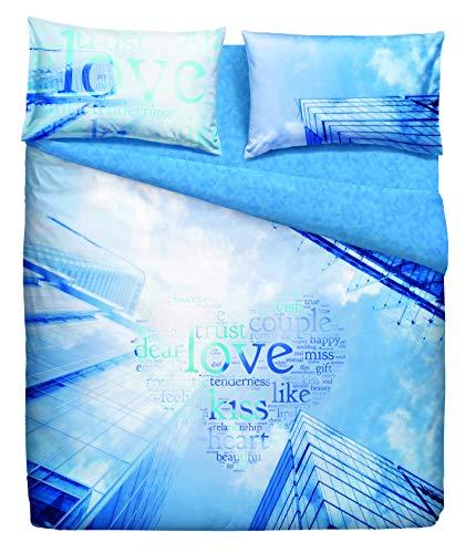 Bassetti completo letto copriletto matrimoniale linea natura 100% cotone made in italy (city escape)